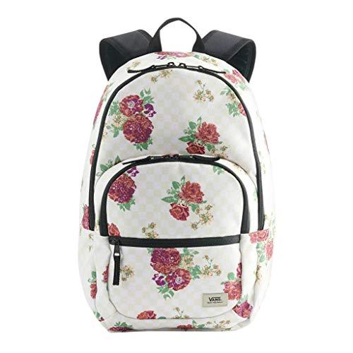 Vans Motivee 3-B - Mochila para portátil (tamaño grande), diseño de flores, color blanco