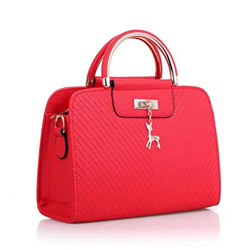 YUEMING Bolso de mano Bolso de hombro Bolso de mensajero Bolso de mensajero bolso de mano, bolso de moda para mujer, correa de hombro desmontable, bolso de cuero de PU (Rojo)