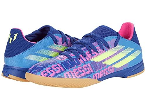 adidas X Speedflow Messi.3 Indoor Soccer Shoe, Victory Blue/Shock Pink/Solar Yellow, 12.5 US Unisex Little Kid