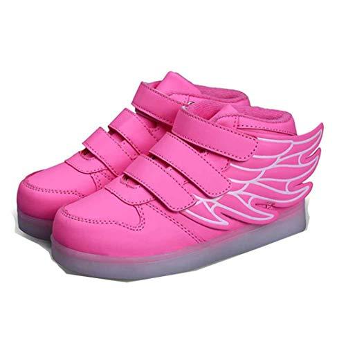 Zapatillas Casuales de los niños Baile Fantasma LED Zapatos de luz Primavera otoño Invierno cómodo Cuero Suave alas Altas-Top Zapatos Luminosos de los niños