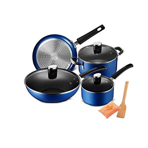 Batterie de cuisine, kit d'induction de casseroles et de perles, avec couvercle et poêle à frire pour cuisinière à induction, poêle, cocotte avec couvercle en verre (ensemble de 4)