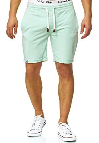 Indicode Caballero Aldrich Pantalones Cortos de Sudadera con Interior Polar y cordón | Corto Pantalón Shorts De Deporte chándal Sweat Pants Entrenamiento para Hombres Surf Spray XXL