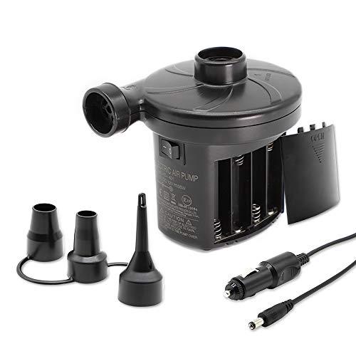 Tuomico Elektrische Luftpumpe, Schnellbefüllbare Luftpumpe Akku/Entlüfter für Einzelne Luftbetten/Aufblasbare Produkte mit 3 Düsen,Akkubetriebene Luftpumpe und 12V DC