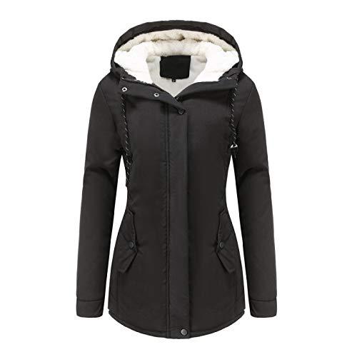Katenyl Otoño e invierno nuevo abrigo acolchado de algodón cálido chaqueta con capucha informal gruesa y de terciopelo de color sólido para mujer con cordón 3XL