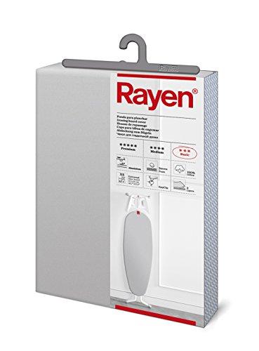 Rayen - Funda para tabla de planchar para tablas pequeñas (funda de planchar fácil de colocar con sistema EasyClip), 2 capas: Espuma y tejido 100% algodón. Funda con recubrimiento de aluminio. Gama Basic. 115x38 cm, Gris Claro Metalizado