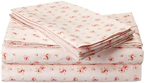 Conjunto de lençóis de microfibra Amrapur | Conjunto de lençóis de cama luxuosamente macios 100% microfibra com estampa rosa com bolso profundo, lençol de cima e 2 fronhas, conjunto de 4 peças, King