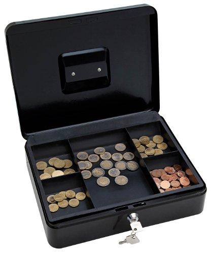 Wedo 145421X Geldkassette (aus pulverbeschichtetem Stahl, versenkbarer Griff, 5-Fächer-Münzeinsatz, Sicherheits-Zylinderschloss, 30 x 24 x 9 cm) schwarz