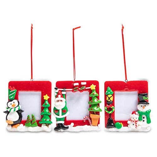 Okuna Outpost Christmas Picture Frames, Santa, Penguin, Snowman Ornaments (3 Pack)