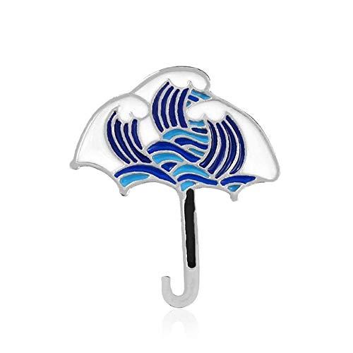Yus Paraguas Serie Ola de mar Broche de la Ballena Azul Umbrella Wave Iceberg broches for Las Mujeres Broche de joyería Insignia del Sombrero del Dril de algodón (Size : Umbrella)
