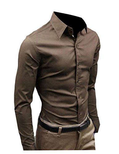 Camisa social masculina de manga comprida com lapela de cor pura, Coffee, Medium