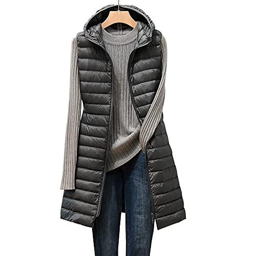 BIBOKAOKE Chaleco de plumón para mujer con capucha, sin mangas, chaleco con capucha, ligero, cálido, abrigo de plumón con capucha, bolsillos, chaqueta de invierno ultraligera