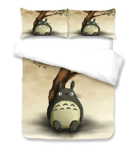 AMYZS-KK Tonari no Totoro Bettwäsche, 100 % Mikrofaser, Kissenbezug + Bettbezug, Anime, 3D-Cartoon-Motiv, 1,135 x 200 cm