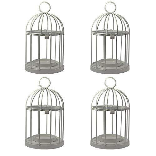 Vela Lanterns Mini Birdcage Tealight Lanterns, Set of 4, White