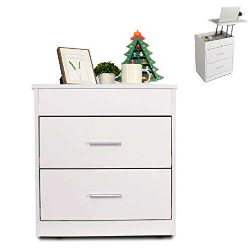 2 in 1 Upgrade Nightstand with Lift Top and Computer Table, Height Adjustable Bedside Table End Table Laptop Desk with 2 Drawer and Hidden Storage Compartment, White