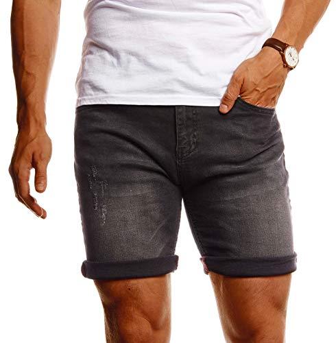 Leif Nelson Herren Shorts Jeans Stretch Kurze Hose für Sommer Slim Fit Basic Kurze Jeanshose für Männer Denim Jungen weiße Freizeithose Chino Cargo Bermuda LN1397 Grau W38