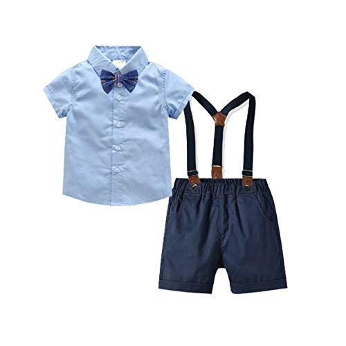 Baby Boys Gentleman Outfits Suits, Infant Short Sleeve Shirt+Bib Pants+Bow Tie Overalls Clothes Set Light Blue