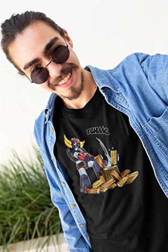 OKIWOKI T-Shirt Noir Goldorak parodique Goldorak - Astéro-Hache : Le Bûcheron de l'espace ! (Parodie Goldorak)