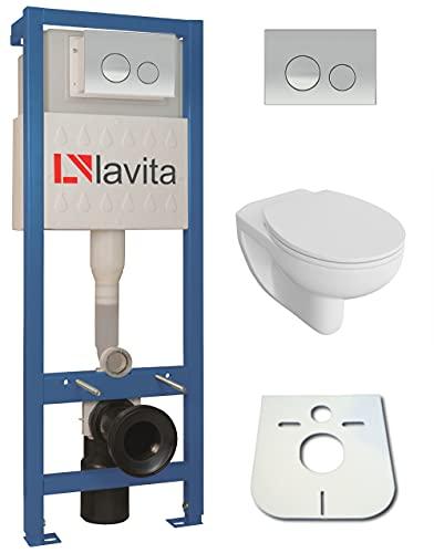 Domino Lavita Vorwandelement inkl. Drückerplatte + Basic-Pro Wand-WC ohne Spülrand + WC-Sitz mit Soft-Close Absenkautomatik Drückerplatte (OC)