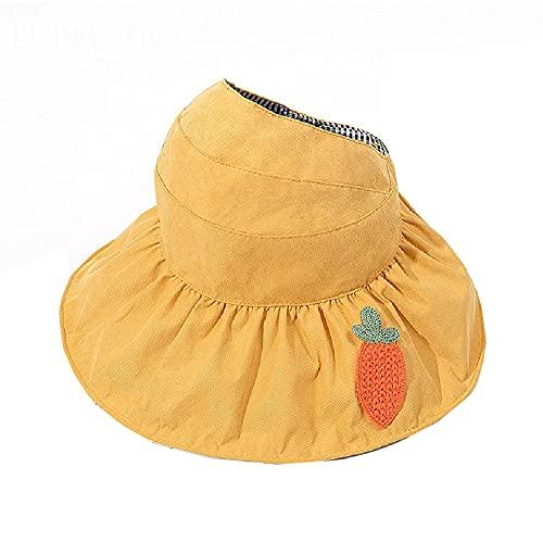 XIAOJU Gorra de protección Solar para niños Sombrero de ala Ancha para Exteriores Sombrero de Copa vacío Protección UV Plegable,Yellow1