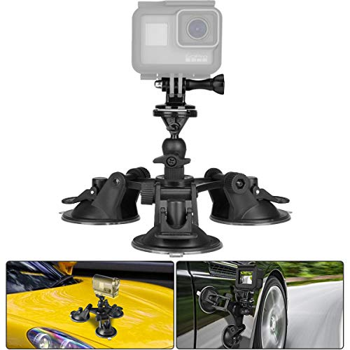 3-Cup Action Camera Suction Cup Mount Motion Camcorder Car Windshield Hood Door Trunk Lid Holder /w Ball Head Compatible with GoPro Sony DJI OSMO Action Akaso Apeman YI Sports DV Cam Vehicle Mounts