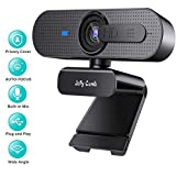 1080P Webcam with Privacy Shutter, Jelly Comb HD Autofocus Webcam, Computer Web Camera