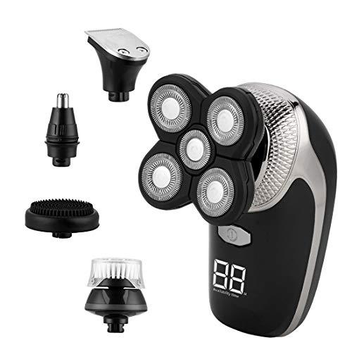 Afeitadora Eléctrica 5 en 1,CkeyiN Recortador de Barba Inalámbrico de Carga USB,Cortapelos Hombre- Con Pantalla,Para Vello Facial,Corporal y de Nariz