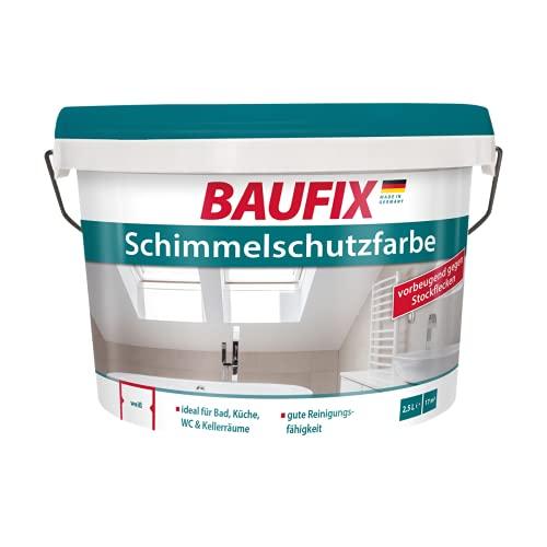 BAUFIX Schimmelschutzfarbe weiß, 2.5 Liter, Anti Schimmel Farbe für innen, mit Filmschutz gegen Schimmel, für Bad, Küche und WC geeignet