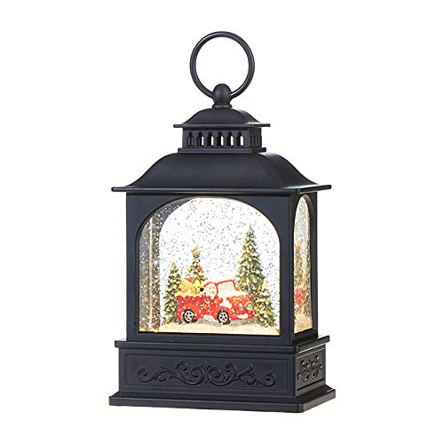RAZ Imports Dogs in Red Truck Scene Lighted Water Lantern Christmas Snow Globe with Swirling Glitter
