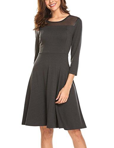 Beyove Damen Skaterkleid 3/4 Ärmel Strickkleid Jersey Kleid Freizeitkleid Knielang Grau M