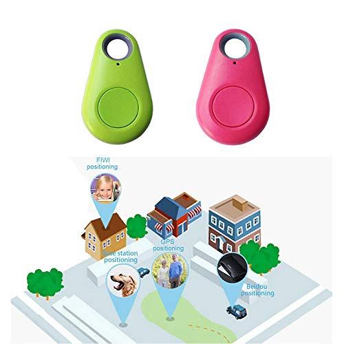 2 pcs Green + Pink GPS Tracker Collar Bluetooth Dog cat Key Wallet Bag Child Anti-Lost Child Tracker pet Smart Mini Waterproof Finder Wearable Device 2 pcs Green + Pink