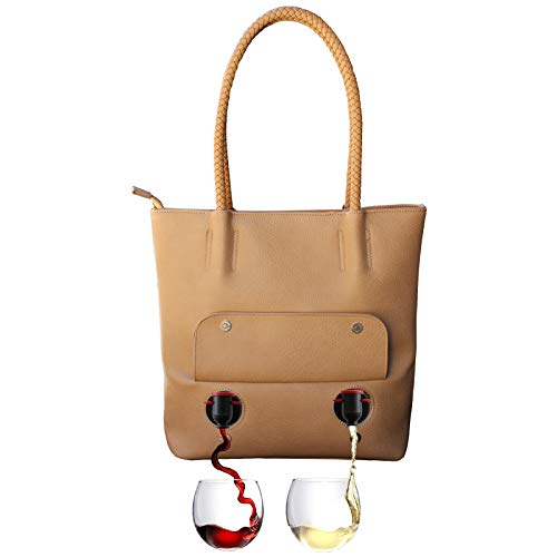 PortoVino Tuscany Double Pour Vegan Leather Tote (Chardonnay) - Fashionable Purse with Hidden, Insulated Compartment, Holds 2 Separate Bottles of Wine! / Great Gift! / Happiness Guaranteed!