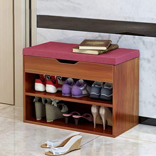 SHOE RACK Banco de Soporte de Zapatos Estante de Zapatos Nordic con un Banco de Zapatos Puf Soporte de Zapatos Estante de Zapatos Banco de Zapatos (Color: Rojo, Dimensiones: 60 * 30 * 45 Cm),Rojo,Los