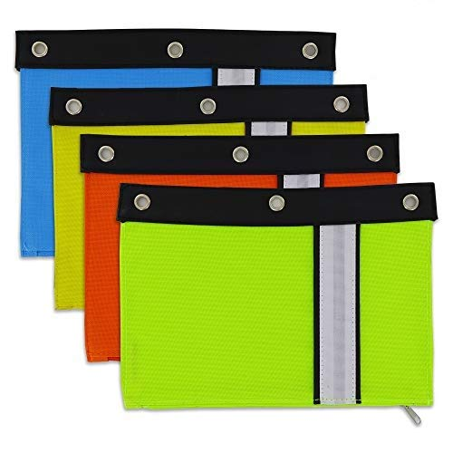 Emraw Bright Color Pencil Pouch 3-Ring Binder Pencil Case with Zipper Pulls Rivet Enforced Assorted Colors Large Pocket Pencil Bags for Storing School Office and Artist Supplies (Pack of 6)