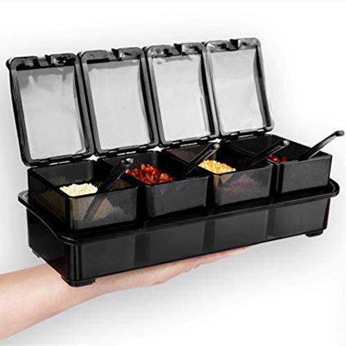 Estante de Condimentos Cuchara multifunción 4-compartimento Cuadro de especias Contenedor de almacenamiento Pappienta de sal de condimento Tanque Accesorios de cocina Conveniente para Organizar