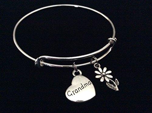 Grandma Heart and Daisy Expandable Silver Charm Bracelet Grandmother Adjustable Bangle