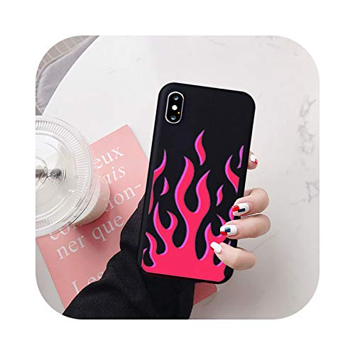 Fashion Flame Pattern Phone Case For iPhone X XS MAX 11 Pro 12 XR 7 8 6Plus SE20 Black Red Soft Silicone Back Cover Capa-Style 5-For iPhone X