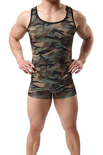 ONEFIT Mens Milk Silk Tank Top Camo Sleeveless Shirt L