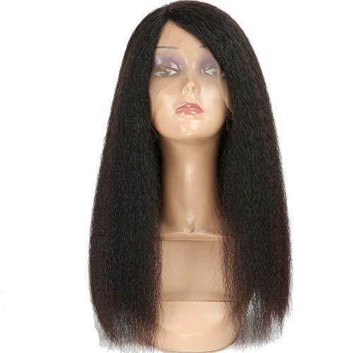 Hmtafro Cheveux brésiliens moitié Perruque de dentelle avec 160% de remplissage de qualité 9 A (couleur naturelle)