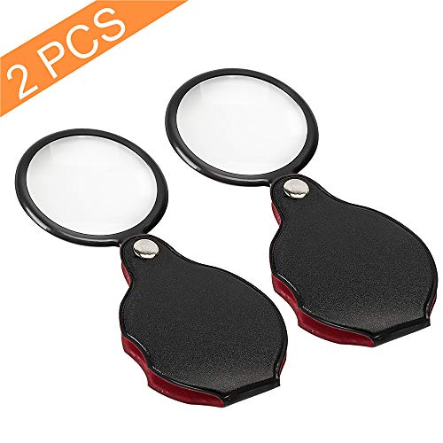 Wapodeai 2pcs 10x Small Pocket Magnify Glass Premium Folding Mini Magnifying Glass with Rotating Protective Leather Sheath, Apply to Reading, Science, Jewelry, Hobbies, Books, 1.96in