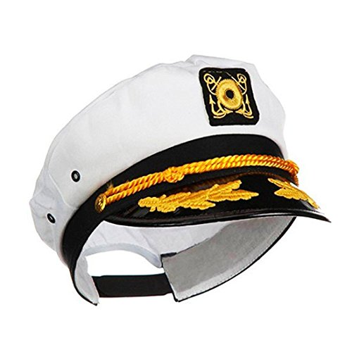Ifavor123 Sailor Captain Navy Yacht Adjustable Snapback Sailing Cap Halloween Novelty Dress-Up Hat, White, One Size