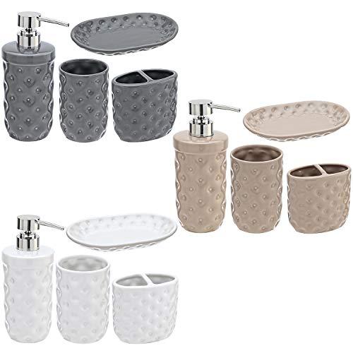 Buystar Set di Accessori per Il Bagno in Ceramica | 4 Pezzi con Porta Sapone, dosatore Sapone, Bicchiere Bagno, Porta spazzolino | Disponibile in 3 Colori
