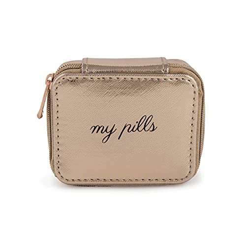 Miamica Women's Pill Case, Rose Gold, 3.5x2.75x1.25 Inch (Pack of 1)