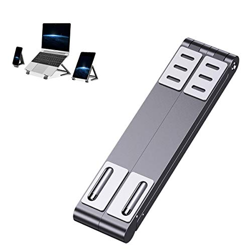 HXXXIN Laptop Stand, Laptop Aluminum Alloy Stand Portable Mini Computer Lifting Cooling Bracket, Folding Office Bedroom at Any Angle, (Silver),Gray