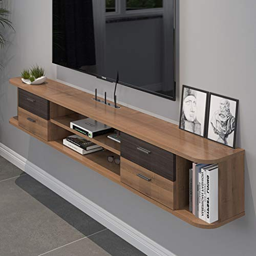 Wandmontage TV-kast Audio En Video Plank Met Lade Wandplank Drijvende Plank Dubbele Plank TV Multimedia Opslag Plank Knickknacks Opbergkast, Walnut color