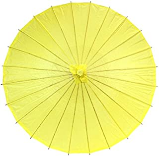 Koyal Wholesale 32-Inch Paper Parasol, Umbrella for Wedding, Bridesmaids, Party Favors, Summer Sun Shade (1, Yellow)