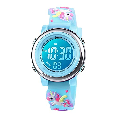Relojes digitales para niños pequeños, 3D lindo dibujos animados 7 luces de color impermeable deporte electrónico reloj de pulsera con alarma cronómetro para niños de 3 a 10 años, Unicornio, azul,
