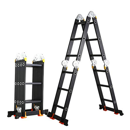 N / A Telescopic Extension Ladder, Aluminium Extension 4 in 1 Step Heavy Duty Combination,Adjustable with Safety-Lock,for Home and Garden.28.714.110.6in