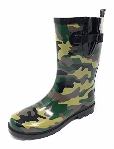 Forever Young Women Mid-Calf,CAMO RAIN Boot,7
