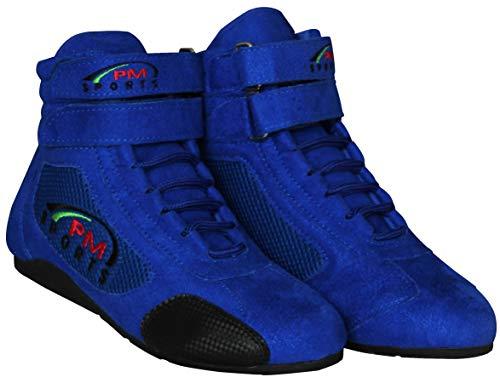 PM Sports Erwachsene Kartingstiefel Race Rally Track Boots mit Wildleder und Mesh Racewear - blau - UK 7 / EU 41