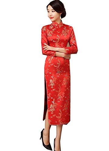 Shanghai Story Dragon Qipao Red Chinese Oriental Dress Long Cheongsam M
